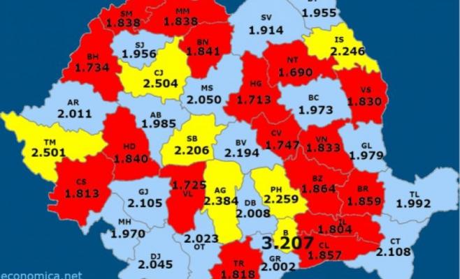 Harta salariilor din Romania, sursa: economica.net