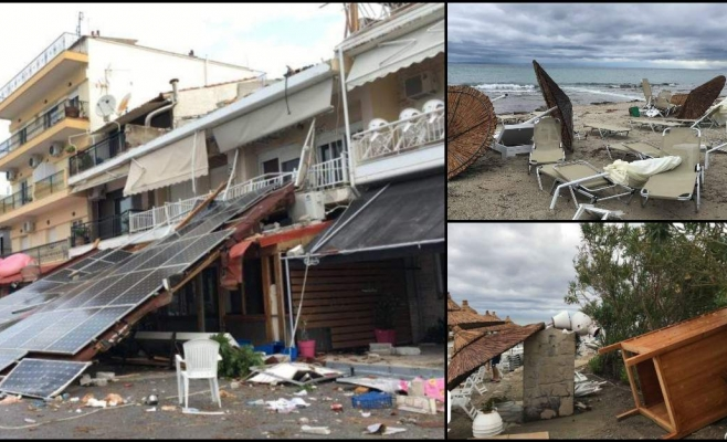 Furtuna în peninsula grecească Halkidiki