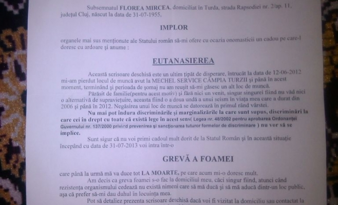 Mircea Florea a cerut sa fie eutanasiat