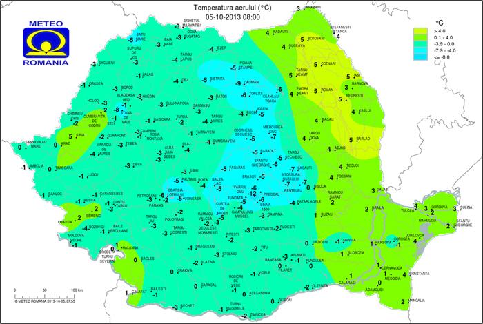 Vreme Extrem De Rece Pentru Această Perioadă Harta Temperaturilor