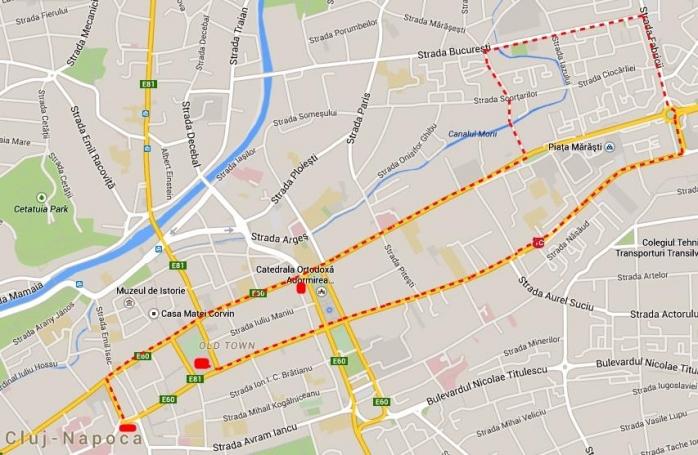 Hata traseului manifestației anti-Ponta. Sursă foto: Facebook
