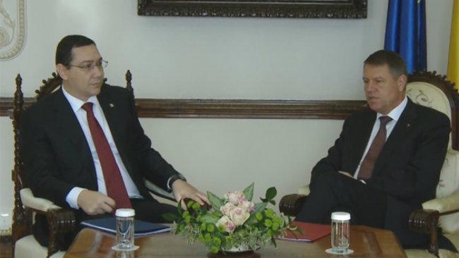 Klaus Iohannis și Victor Ponta. Foto: Captură video