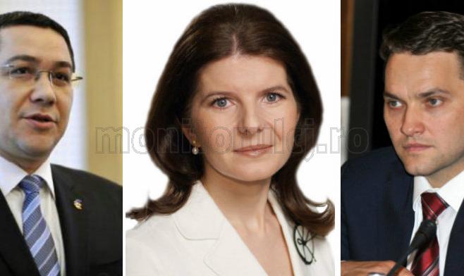 Victor Ponta (PSD), Monica Iacob Ridzi (PDL) și Dan Șova (PSD)