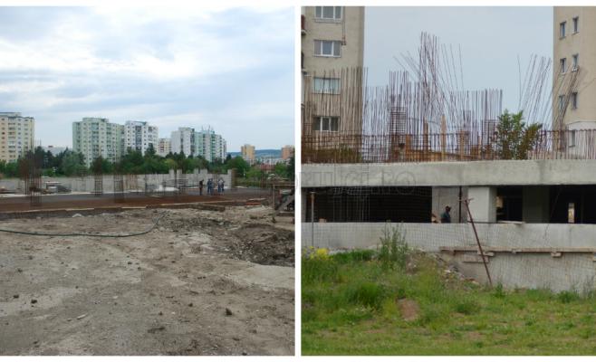 Șantier parking Negoiu 2014 (stânga) și șantier parking Negoiu 2015 (dreapta)