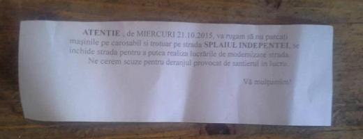 Hârtia care a apărut în parbrizul mașinilor din zona Splaiul Independenței