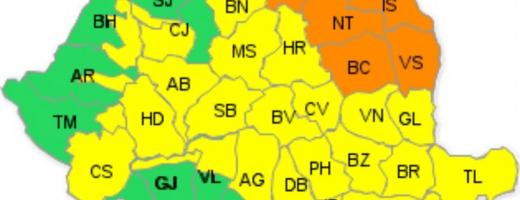 Cod galben de PLOI TORENȚIALE în județul Cluj