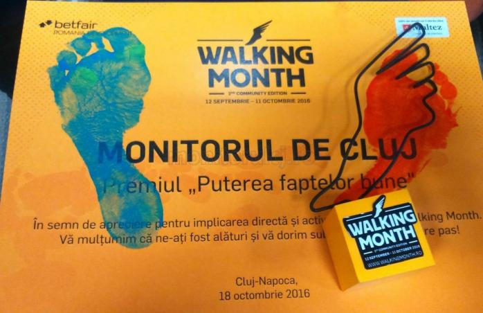 Walking Month, la final. Monitorul de Cluj a primit Premiul Puterea Faptelor Bune