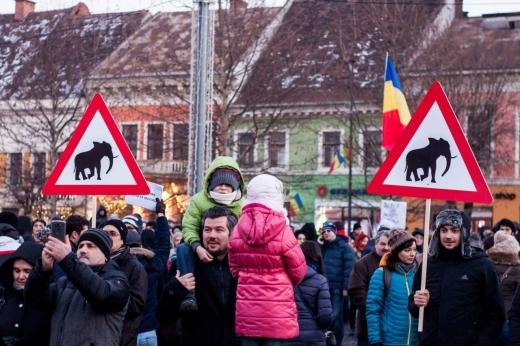 Manifestanții de la Cluj au adus pancarte cu