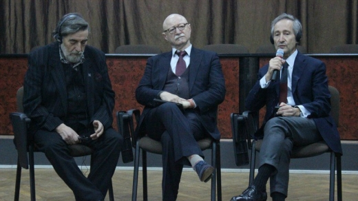 Ioan Sbârciu si Bernard Blistene la ceremonia de acordare a titlului doctor honirs causa