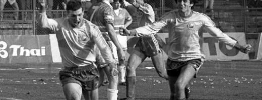 Ioan Ovidiu Sabău după golul din România – Danemarca din '89, care a dus tricolorii la Mondialul din Italia 1990. FOTO Arhivă personală