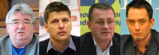 De la stânga la dreapta: Florin Stamatian, Sorin Moldovan, Adrian Oros şi Csoma Botond