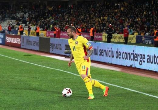 Denis Alibec (aici în meciul naţionalei cu Danemarca, de la Cluj) a deschis scorul pentru FCSB în derby-ul cu Dinamo. FOTO / Cosmina Măcicăşan
