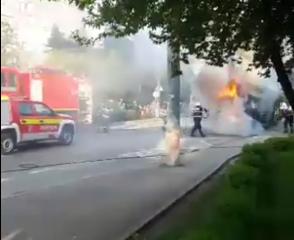 Un autobus a luat foc în Gheorgheni
