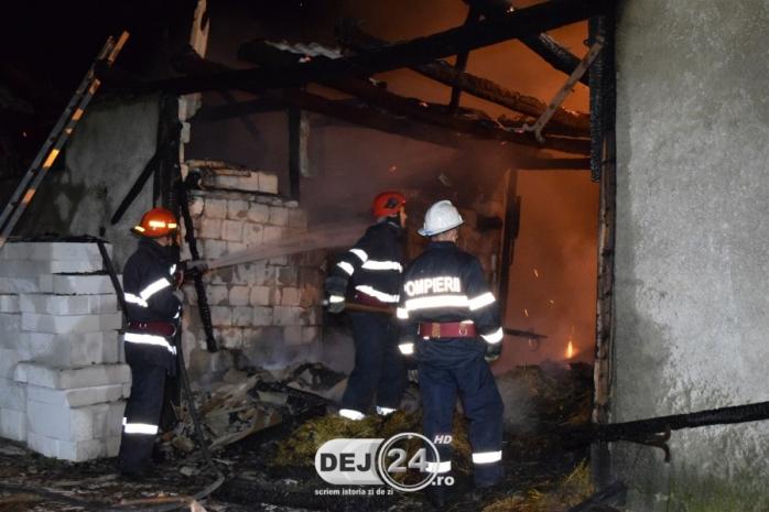 INCENDIU VIOLENT în Ocna Dej! Un adăpost de animale s-a făcut scrum  sursa foto dej24