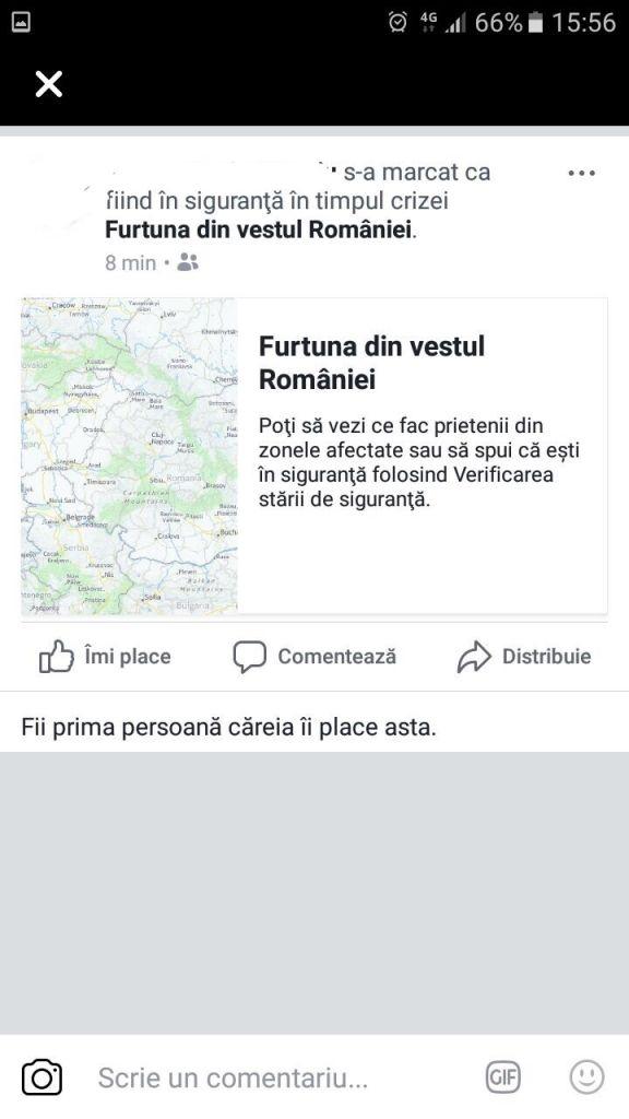 Facebook a activat aplicația pentru verificarea stării de siguranță după furtuna de ieri