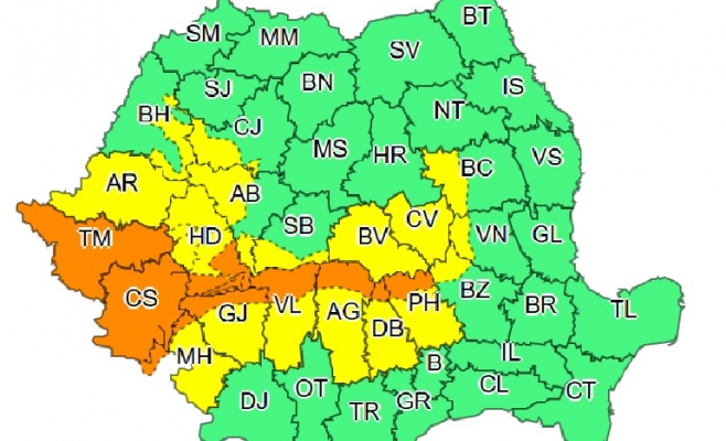 Harta aveertizare ANM cod galben / portocaliu 14-16 decembrie 2018