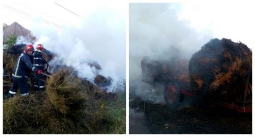 Incendiu la Sic: tone întregi de fân, făcute scrum