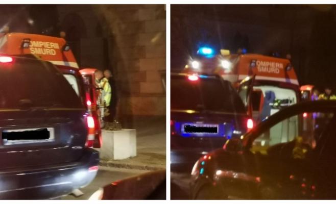 Accident STUPID la Palatul Justiției! Biciclist amețit, rănit de portiera unui taxi oprit pe banda dedicată