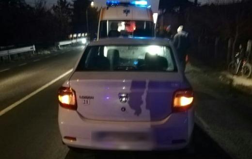 Accident la Cuzdrioara, o nouă traversare neregulamentară s-a sfârșit cu un drum la spital, sursă foto: ISU Cluj