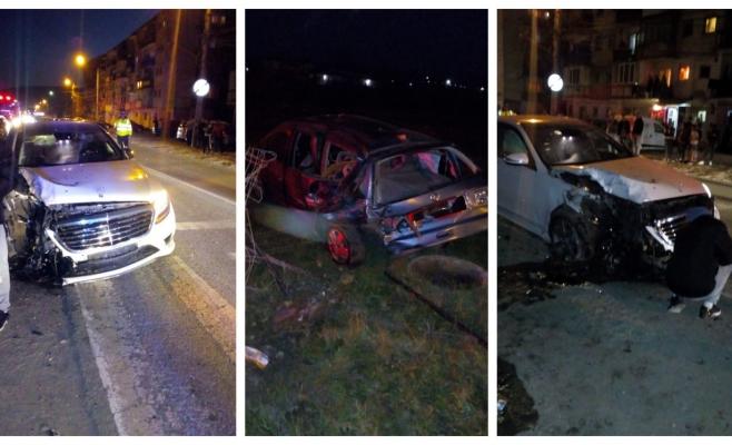 FOTO O traversare neregulamentară, două mașini făcute praf pe o stradă din Dej!, sursă foto: ISU Cluj