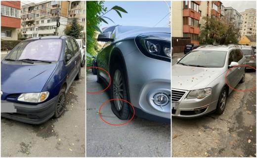 Vandalii își fac veacul pe Gorunului! Mașini cu roțile tăiate, plângerea la Poliție se lasă așteptată