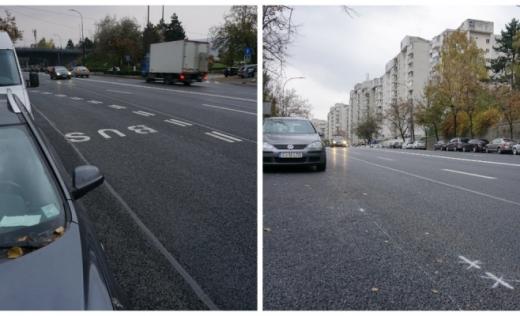 Banda dedicată de pe Calea Florești, funcțională din 5 noiembrie. Adio, parcări pe diagonală!