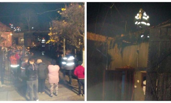 Incendiu puternic la Cășeiu, o bătrânică eroină a suferit arsuri în timp ce-și salva vietățile, sursă foto: ISU Cluj