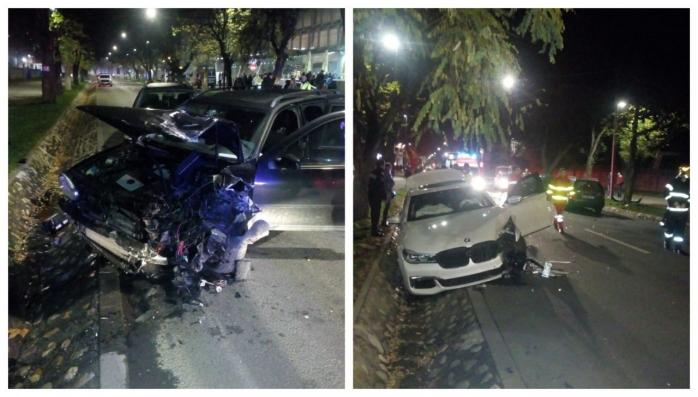 Accident pe Aleea Stadionului! Trei mașini făcute praf, o femeie a ajuns la spital, sursă foto: ISU Cluj