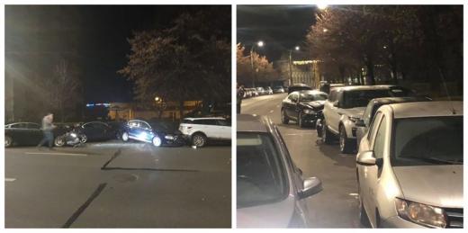 Biliard cu mașini pe Calea Dorobanților! O mașină tractată a făcut prăpăd în miezul nopții, sursă foto: Facebook Info Trafic jud. Cluj