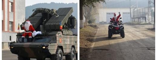 """Moș Crăciun militar! Și-a făcut apariția cu o mașină de luptă în garnizoana Cluj-Napoca, sursă foto: Facebook Divizia 4 Infanterie """"Gemina"""""""