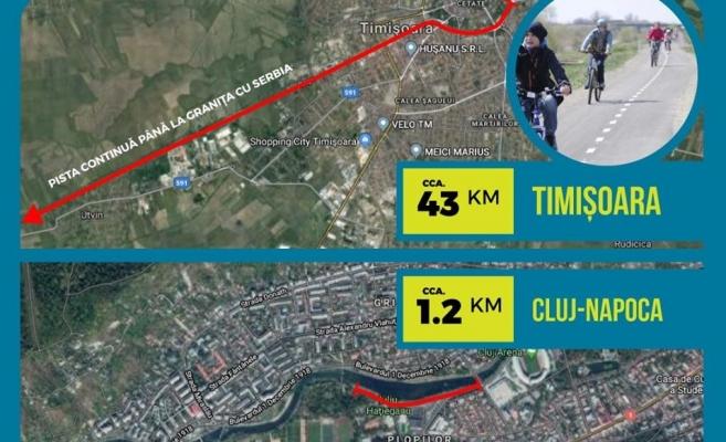 """Cluj-Napoca, """"bătută măr"""" de Timișoara la capitolul piste pentru biciclete, sursă foto: Facebook Adrian Dohotaru"""