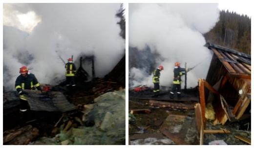 Incendiu cauzat de un generator defect la o cabană din Ic Ponor. Localnicii, eroii zilei!, sursă foto: ISU Cluj