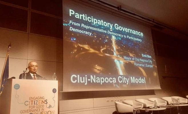 Boc se mândrește cu Bugetarea participativă la Bruxelles. Modelul Cluj-Napoca, prezentat experților UE, sursă foto: Facebook Emil Boc