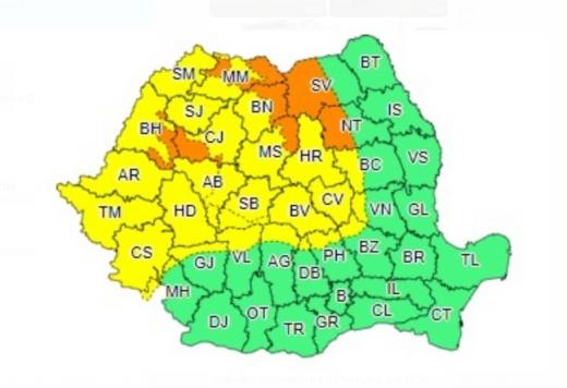 Cod PORTOCALIU în județul Cluj! Intensificări de vânt, viscol, vizibilitate redusă