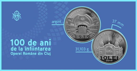 """BNR lansează o monedă de argint cu tema """"100 de ani de la înființarea Operei Române din Cluj"""""""
