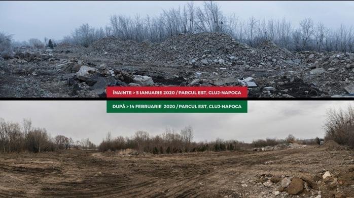 Depozitele de moloz din Parcul Est, curățate. Activiștii clujeni se tem de construcțiile în zonă, sursă foto: Facebook Parcul Est