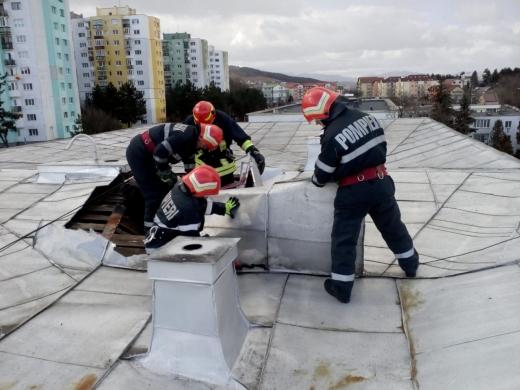 Flăcările și vântul puternic le-au dat mari bătăi de cap pompierilor clujeni, sursă foto: ISU Cluj