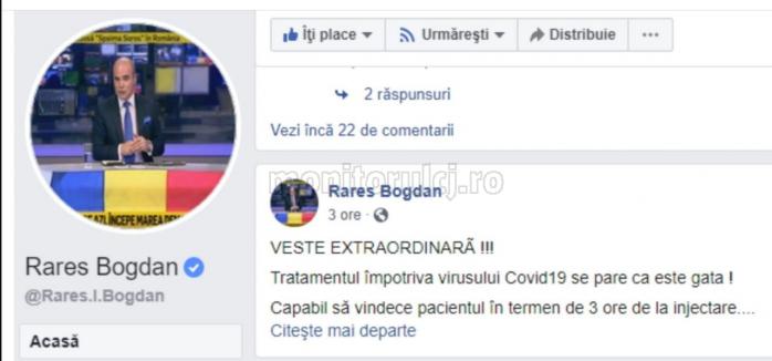 Un imens FAKE-NEWS despre tratarea coronavirusului, propagat online de politicianul clujean Rares Bogdan