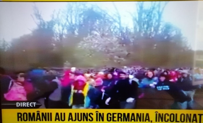 Imaginile surprinse în Germania îi arată pe muncitorii români înghesuiți și fără niciun fel de mijloace de protecție.Foto: Captură RTV
