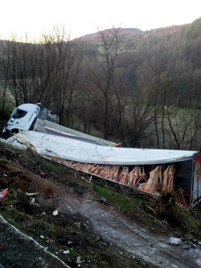 Un TIR plin cu carcase de porc s-a răsturnat între Căpușu Mare și Dumbrava