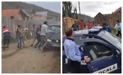 ANARHIE de Paști! Zeci de romi în mijlocul unei bătăi de uliță, cu furci și lopeți. Polițiștii, cât pe ce să fie linșați! VIDEO, sursă foto/video: Facebook Polițiști 2.0