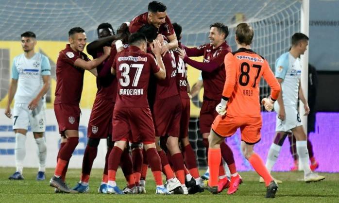Jucătorii de la CFR Cluj sărbătorind un gol în meciul cu FCSB