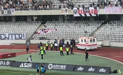 Un jandarm a fost lovit de cu un scaun în cap de un fan la meciul Universitatea Cluj - FC Hermannstadt