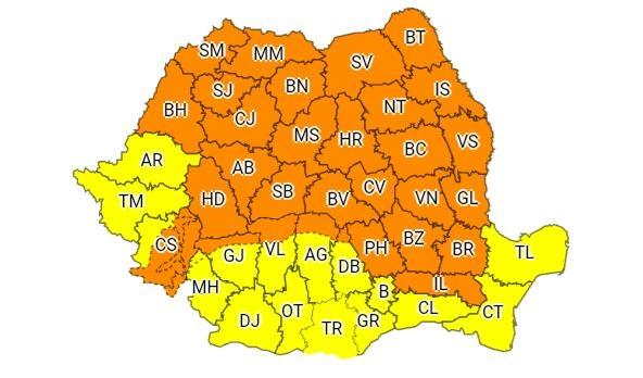 Cod portocaliu de vreme rea în majoritatea județelor
