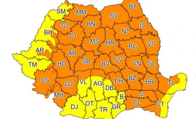 O nouă avertizare COD PORTOCALIU la Cluj. Până când ține vremea rea