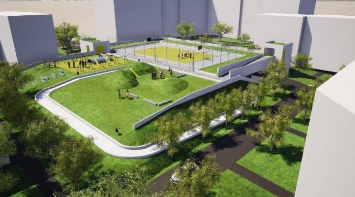 FOTO: Primul parking subteran, cu terasă verde și teren de sport va fi gata în august