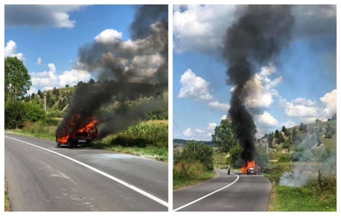 Karma! Un bărbat a dat foc vegetației, iar focul i-a cuprins Matizul, distrus în totalitate, sursă foto: Facebook Info Trafic jud. Cluj
