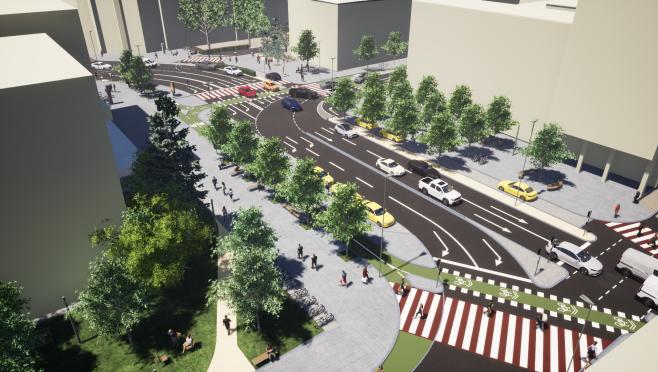 Cum se va circula în Piața Lucian Blaga, după finalizarea lucrărilor? Pistă de biciclete, standuri de taxi și patru benzi pentru mașini