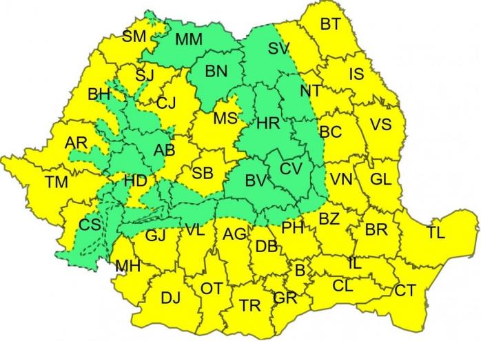 METEO: Cod galben de caniculă, în mai multe județe din țară