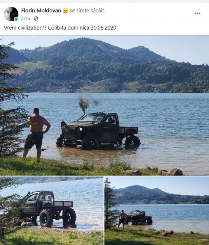 S-a răcorit cu tot cu mașină, în Lacul Colibița! Ce amendă a primit șoferul?